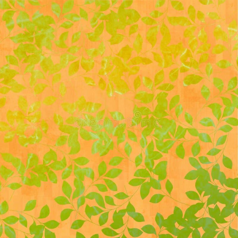De bladeren van de herfst op oranje achtergrond royalty-vrije illustratie