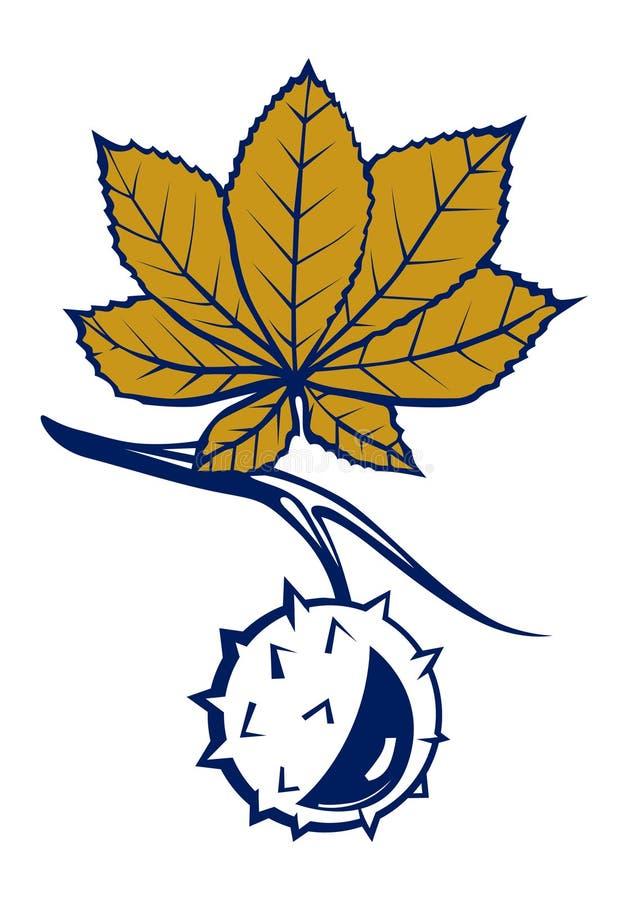 De bladeren van de kastanje met noot royalty-vrije illustratie