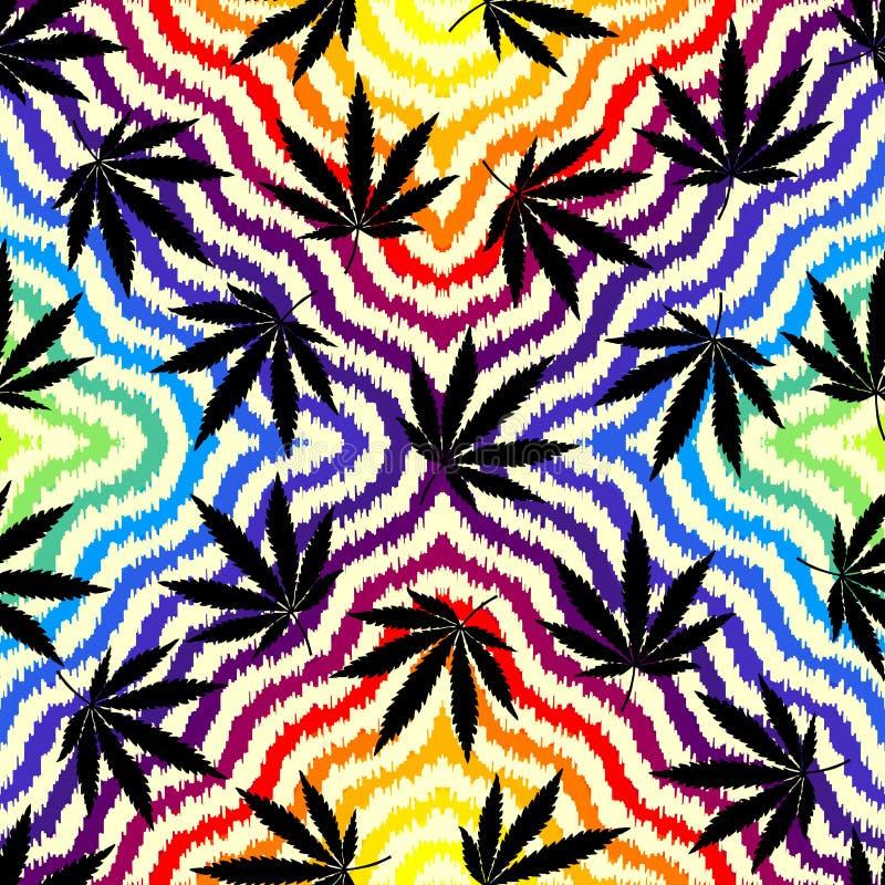 De bladeren van de Rastafarian grunge hennep stock illustratie