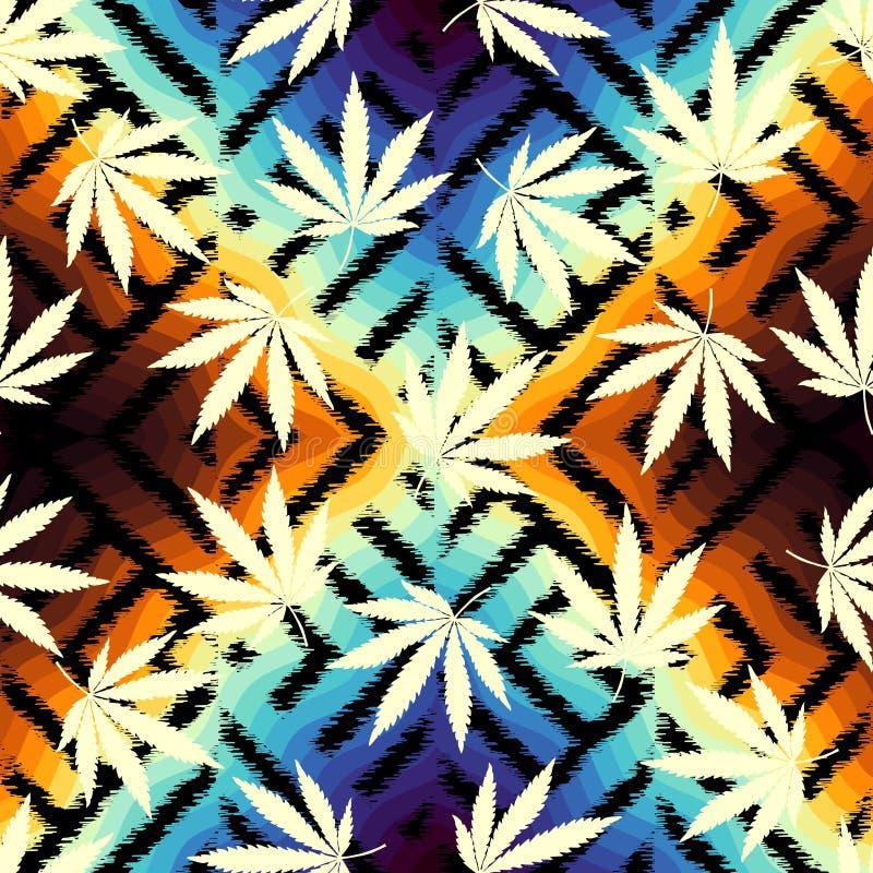 De bladeren van de Rastafarian grunge hennep vector illustratie