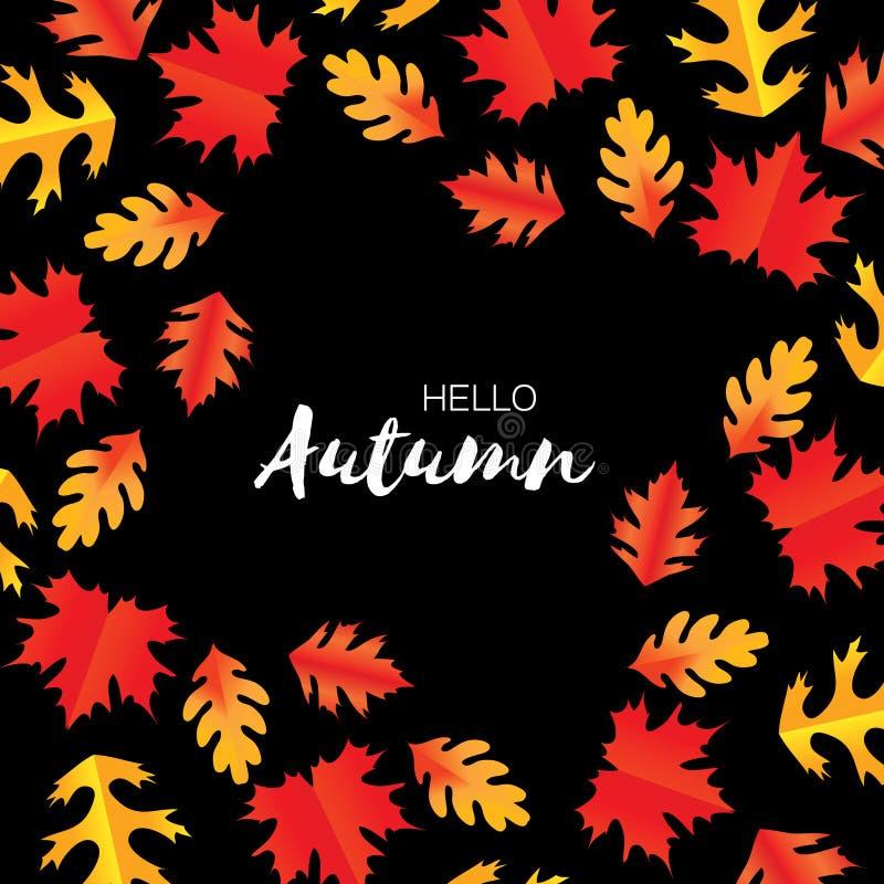 De bladeren van Hello Autumn Paper Cut September-vliegermalplaatje Ruimte voor tekst Origamigebladerte eik Het bladaffiche van de vector illustratie