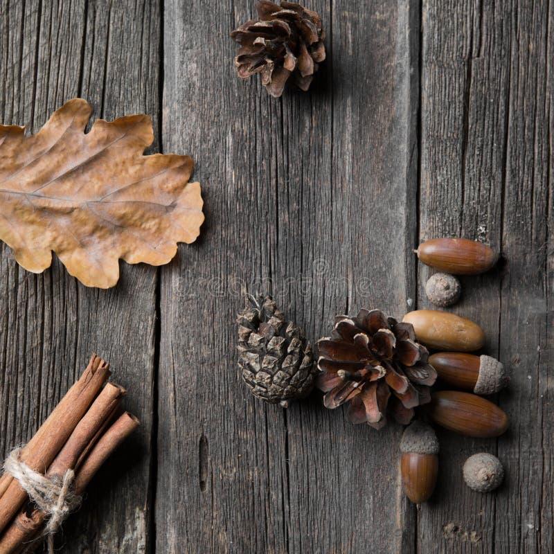 De bladeren van de herfst op houten achtergrond gele de herfstbladeren en eikels op het bord stock foto