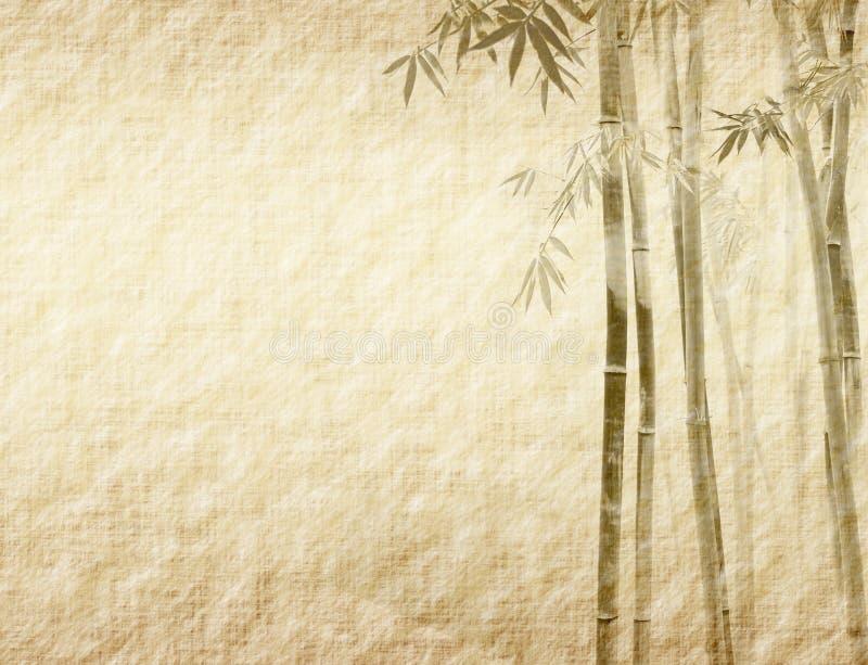 De bladeren van het bamboe op oud grunge antiek document vector illustratie