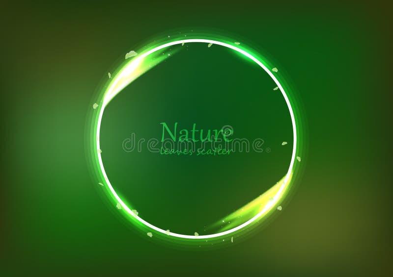 De bladeren verspreiden het concept van de banneraard, het cirkelrings lichte glanzende gloeiende effect heldere neon van de stof royalty-vrije illustratie
