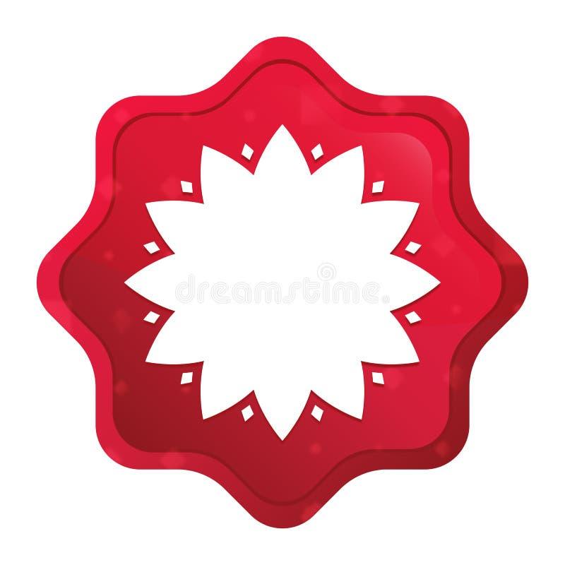 De bladknoop van de starburststicker van het bloempictogram nevelige rozerode stock illustratie