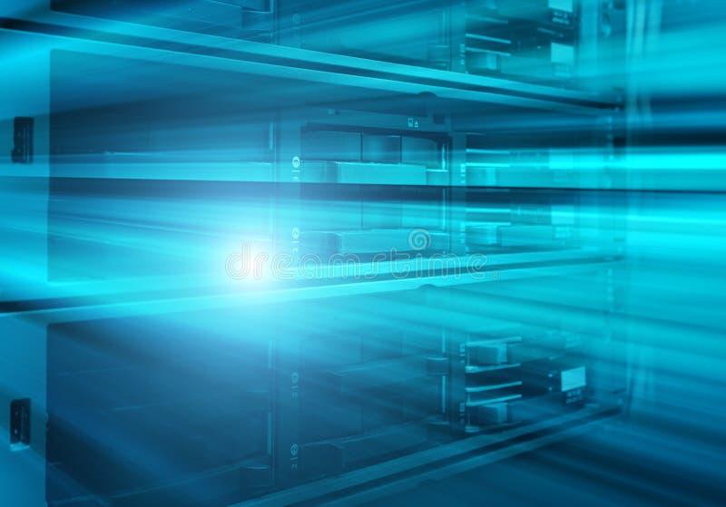 De bladserver is close-up in een reeks van supercomputers royalty-vrije stock afbeeldingen