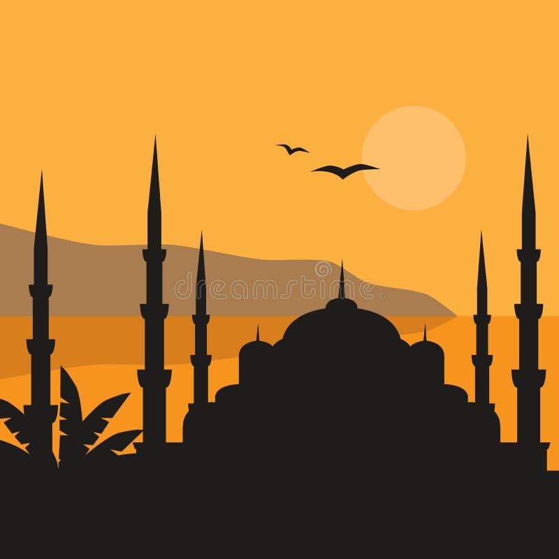 De Blauw Moskee, Sultanahmet Camii, Istanboel, Turkije, de Islamitische architectuur van het Midden-Oosten en Bosphorus stock illustratie