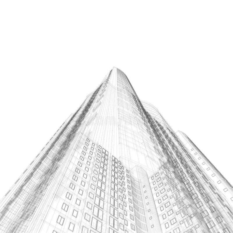 De blauwdruk van de architectuur stock illustratie
