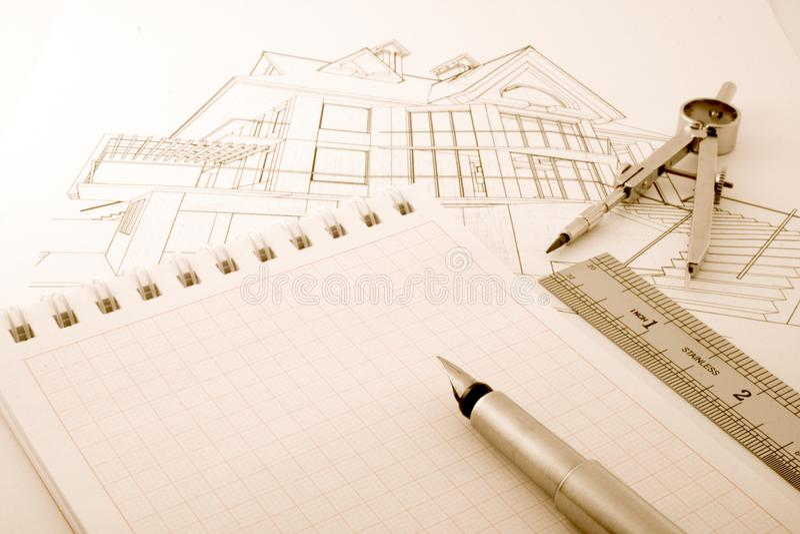 Architectuurblauwdruk Gratis Stock Afbeeldingen