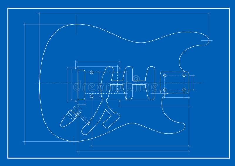 De blauwdruk van de gitaar stock illustratie