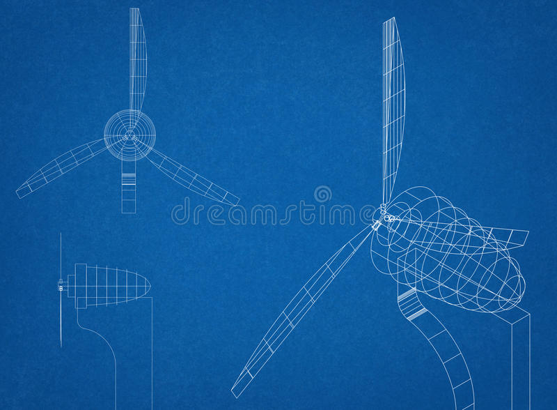 De Blauwdruk van de windturbine stock fotografie