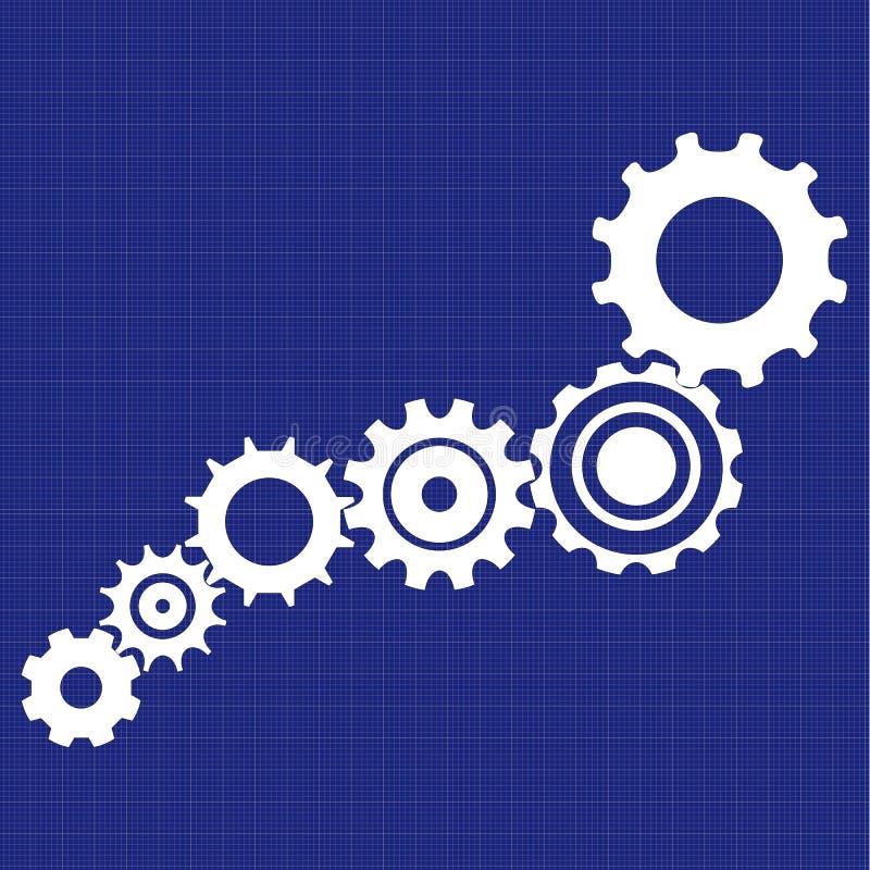 De blauwdruk van het versnellingsbakmechanisme met technische schetsen royalty-vrije stock afbeelding