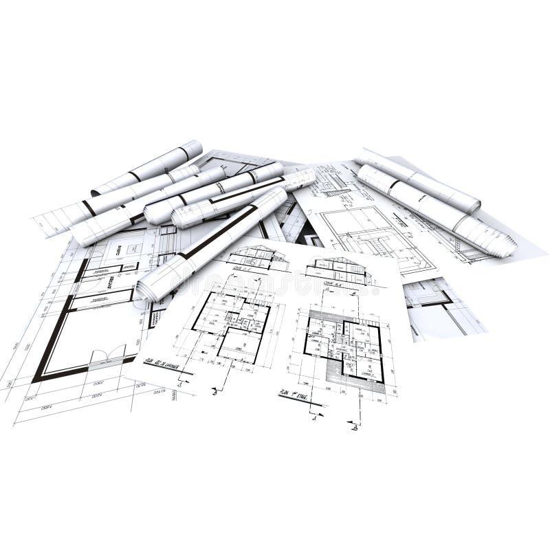De Blauwdrukken van de architect, stock illustratie