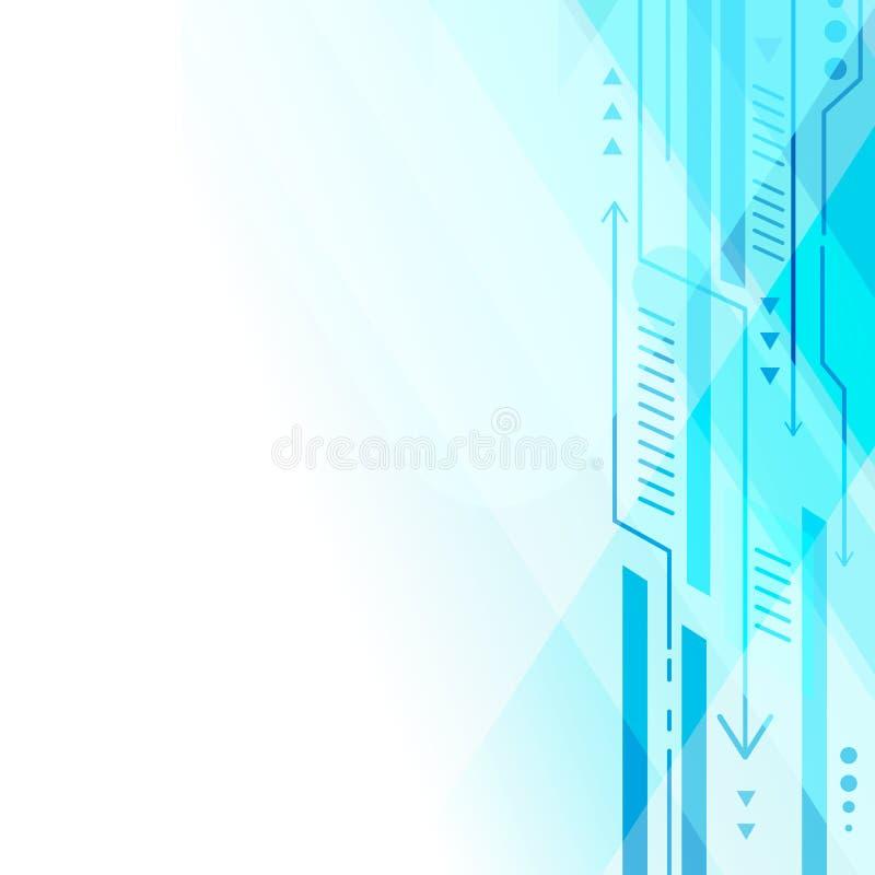 De blauwe abstracte geometrische technologie van de lijnpijl op wit vectorontwerp als achtergrond vector illustratie