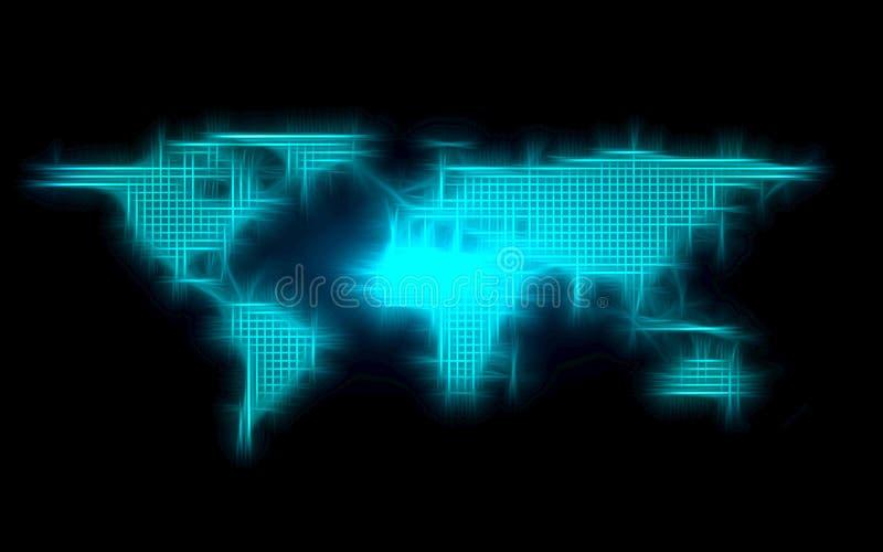 De blauwe abstracte globale achtergrond van de puntkaart Radiale gradi?nt Modern ontwerpbehang voor rapport en het malplaatje van stock afbeeldingen
