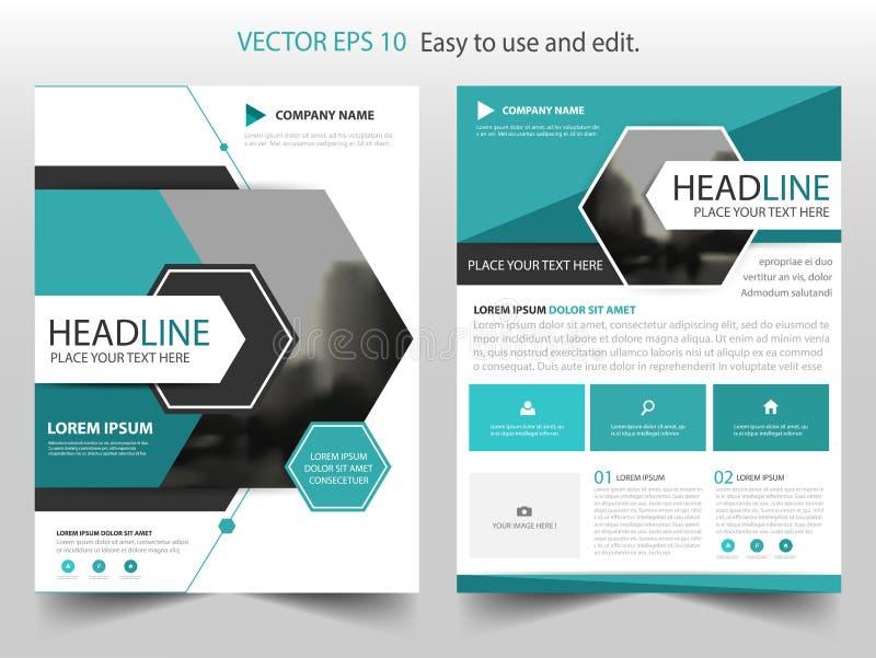 De blauwe abstracte hexagon vector van het het ontwerpmalplaatje van de jaarverslagbrochure Affiche van het bedrijfsvliegers de i vector illustratie