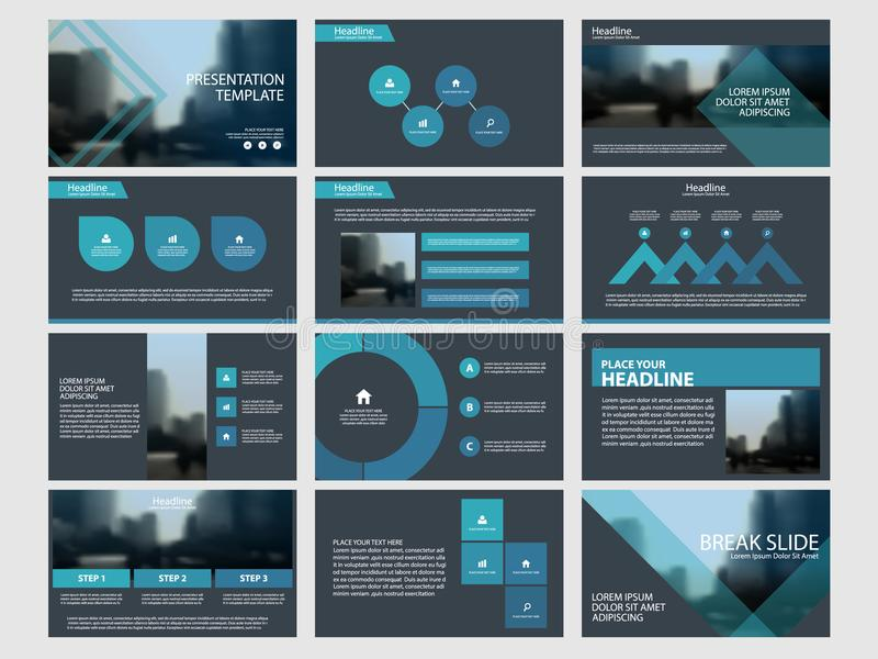De blauwe Abstracte presentatiemalplaatjes, Infographic-het vlakke ontwerp van het elementenmalplaatje plaatsen voor de vliegerpa vector illustratie