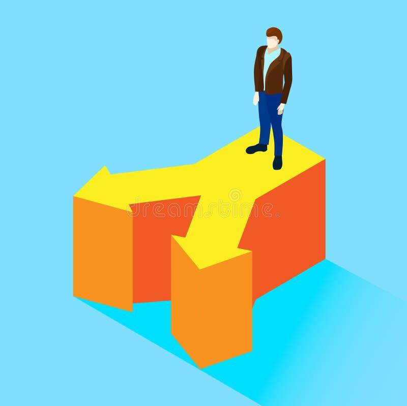 De blauwe achtergrond met de mens neemt besluit vector illustratie