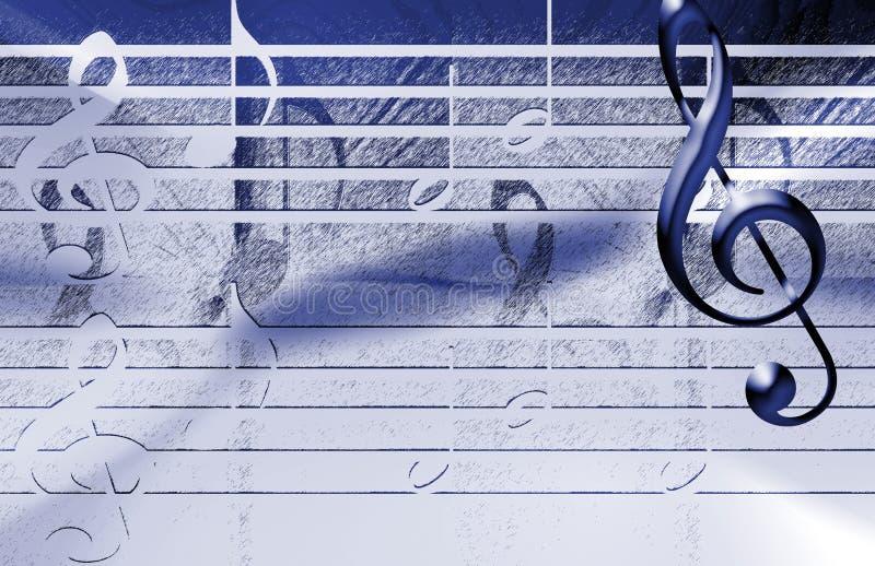 De blauwe achtergrond van de Muziek stock illustratie