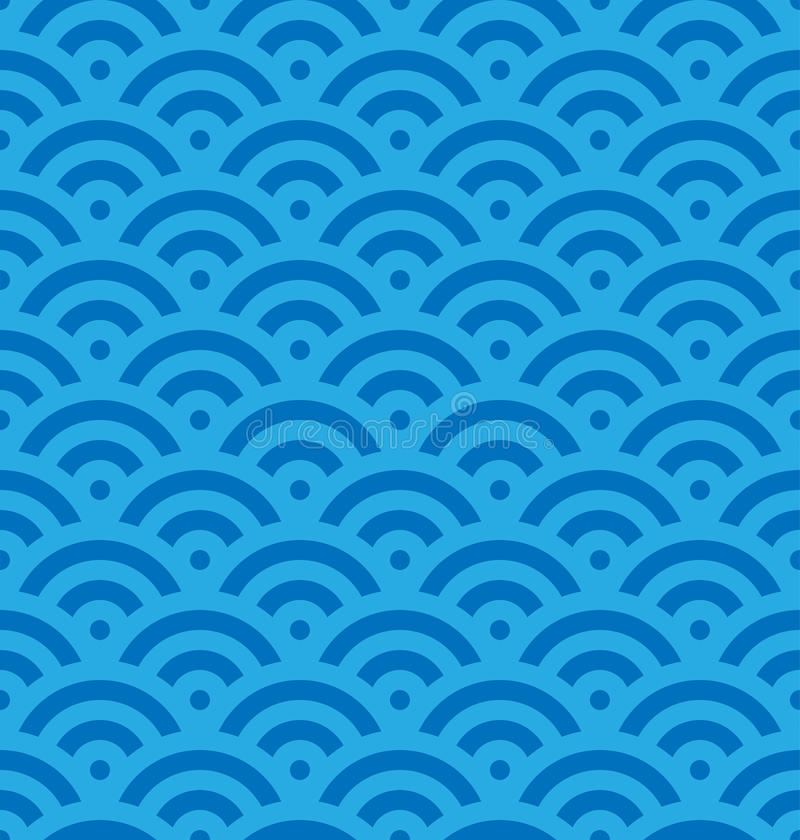 De blauwe achtergrond van de vissenschaal van concentrische cirkels Het abstracte naadloze patroon kijkt als overzeese golven Vec vector illustratie