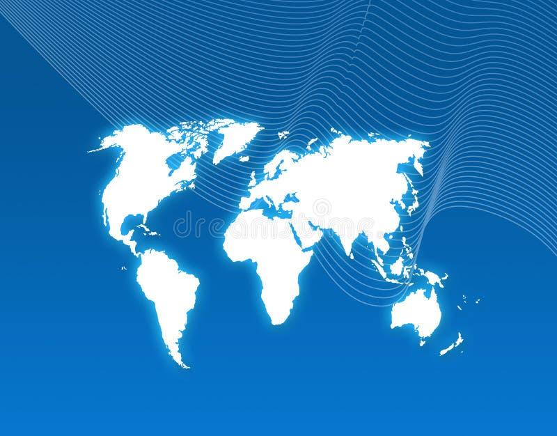De blauwe achtergrond van de wereldkaart vector illustratie