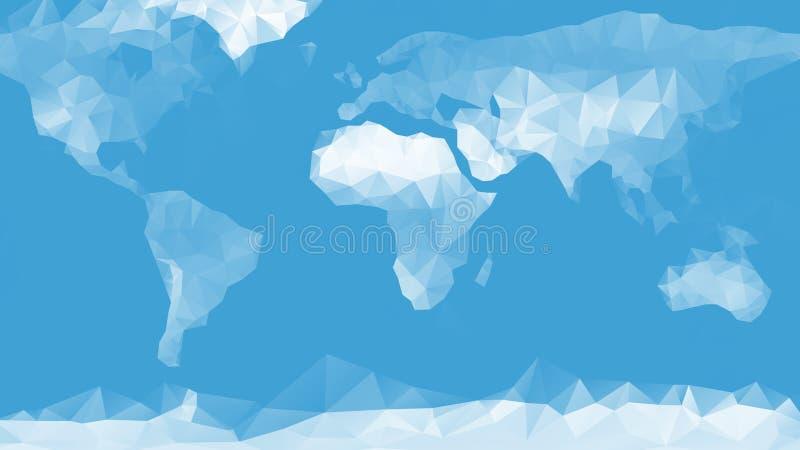 De blauwe achtergrond van de wereldkaart royalty-vrije illustratie