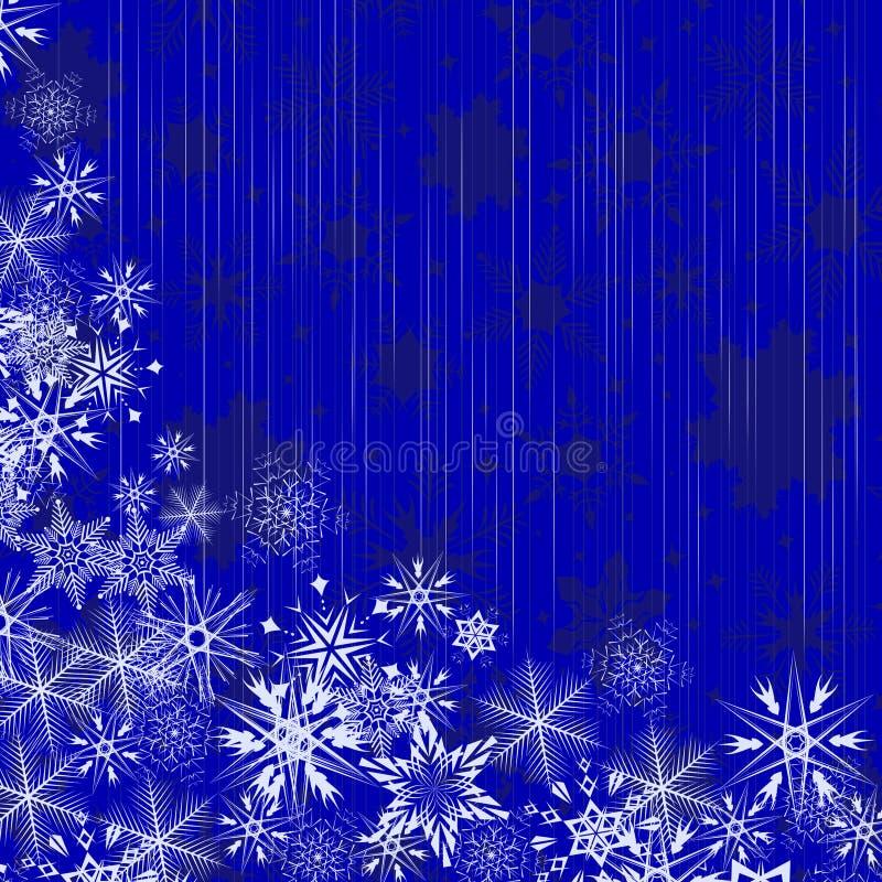 De blauwe achtergrond van de winter met sneeuwvlokken vector illustratie