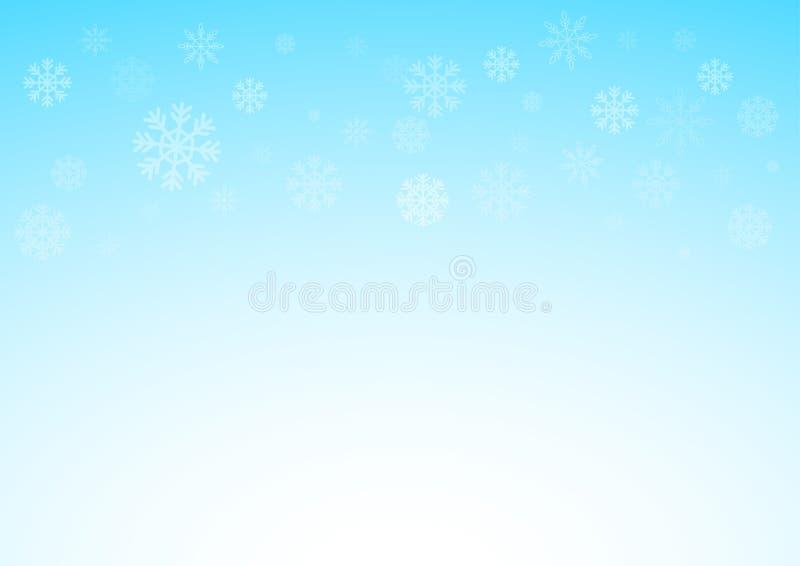 De blauwe achtergrond van de winterkerstmis met sneeuwvlokken, Kerstmis en sneeuwconcept, geïllustreerd eps 10 stock afbeeldingen