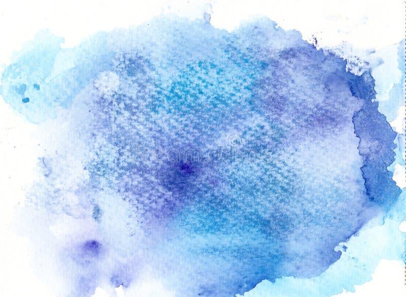 De blauwe achtergrond van de Handrawnwaterverf stock illustratie