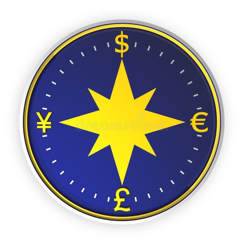De blauwe achtergrond van het geldkompas royalty-vrije illustratie