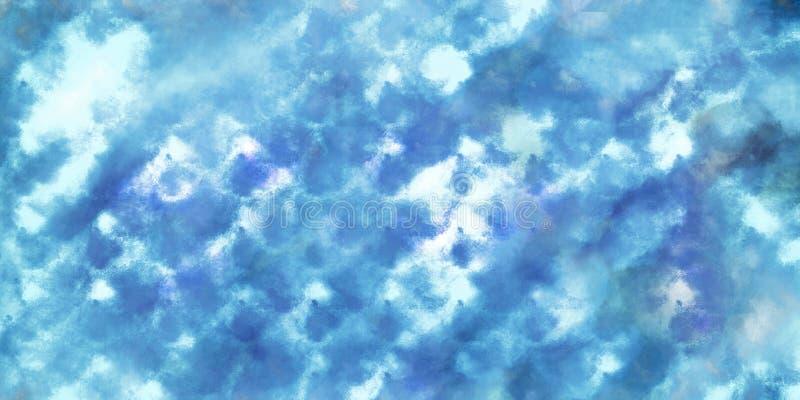 De blauwe achtergrond van het waterverf abstracte patroon royalty-vrije stock afbeeldingen