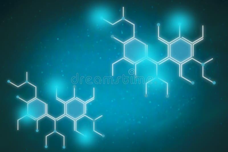 De blauwe achtergrond van de honingraatcommunicatietechnologie vector illustratie