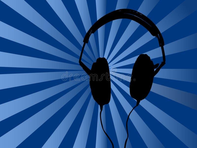 De blauwe Achtergrond van Hoofdtelefoons royalty-vrije illustratie