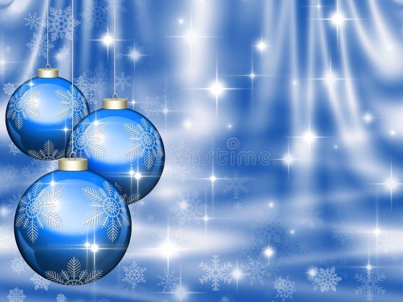 De blauwe achtergrond van Kerstmis met ballen stock illustratie