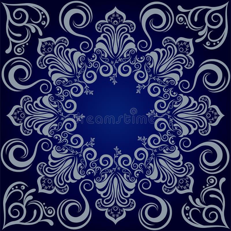 De blauwe achtergrond van Mandala stock illustratie