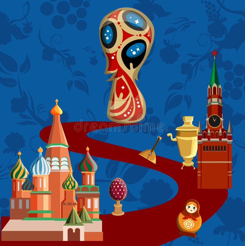 De blauwe achtergrond van de de wereldbekervoetbal van Rusland royalty-vrije illustratie