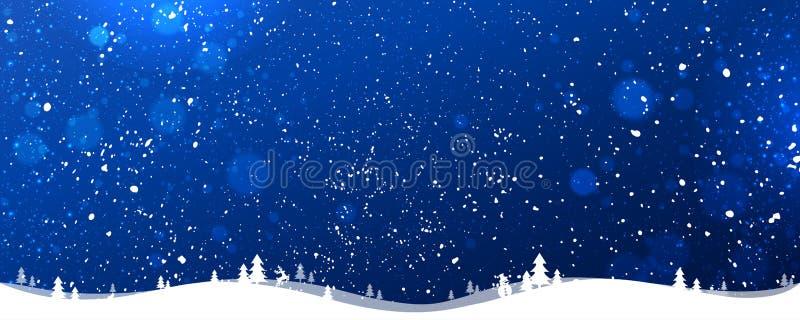 De blauwe achtergrond van de winterkerstmis met sneeuwvlokken, licht, sterren Kerstmis en nieuwe jaarkaart stock illustratie