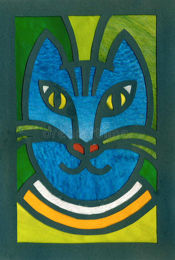 De blauwe artistieke illustratie van het kattenportret applique stock illustratie