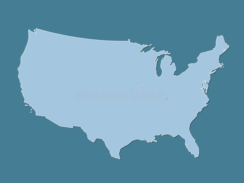 De blauwe atlas van de Verenigde Staten van Amerika met gevulde lijnen zonder verschillende staten op donkere achtergrond royalty-vrije illustratie