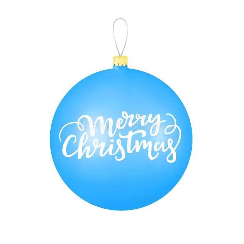 De blauwe bal van het de winter decoratieve glas met Vrolijke Kerstmis van letters voorziende titel vector illustratie