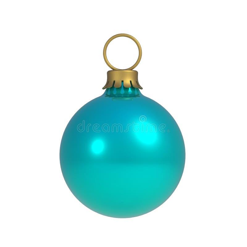 De blauwe bal van Kerstmis die op witte achtergrond wordt ge?soleerde vector illustratie
