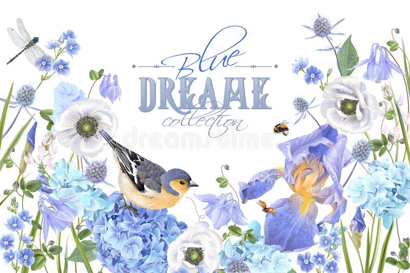 De blauwe banner van de bloemvogel stock illustratie