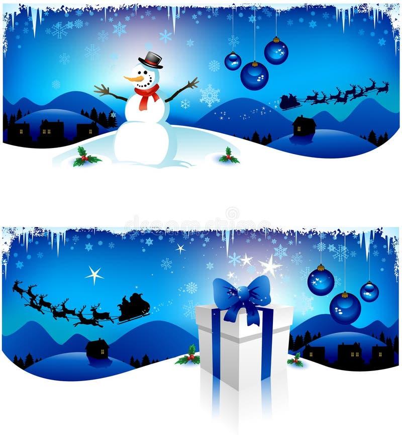 De blauwe banners van Kerstmis vector illustratie