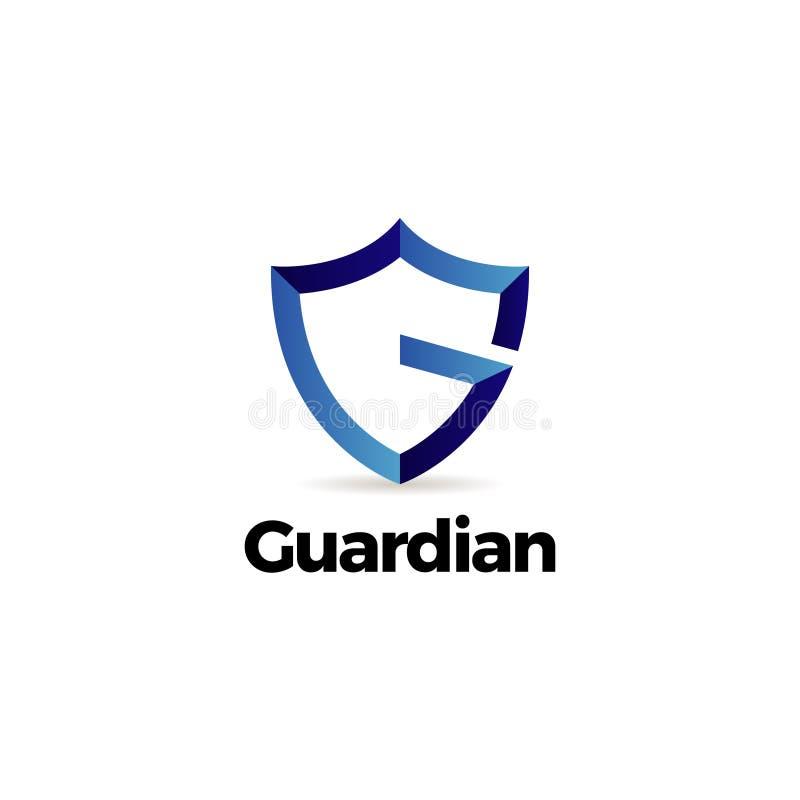De blauwe Beschermer Logo Template van het Brieveng Schild vector illustratie