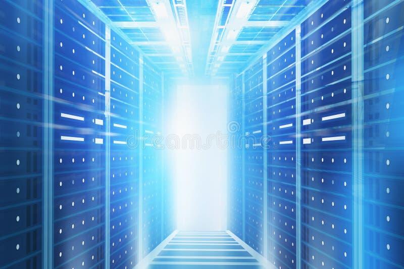 De blauwe binnenlandse achtergrond van de serverruimte royalty-vrije stock afbeelding