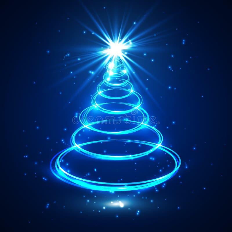 De blauwe boom van gloedkerstmis, spar van neon de elegante abstracte Kerstmis, vectorillustratie royalty-vrije illustratie