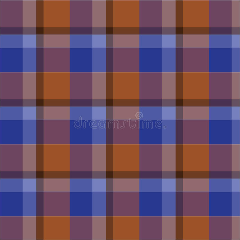 De blauwe bruine gecontroleerde vector van het plaidgeruite schots wollen stof patroon royalty-vrije illustratie