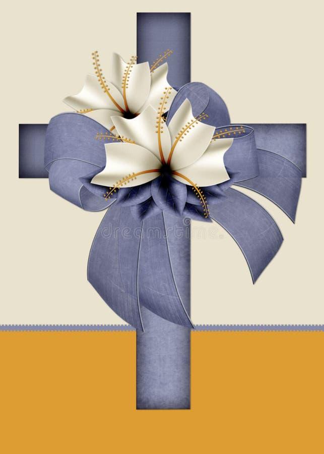 De blauwe Christelijke DwarsKaart van de Groet royalty-vrije illustratie