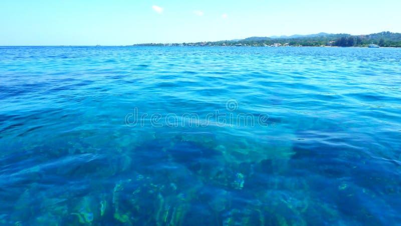 De blauwe Close-up van de Waterspiegel, Caraïbische Zee stock afbeeldingen