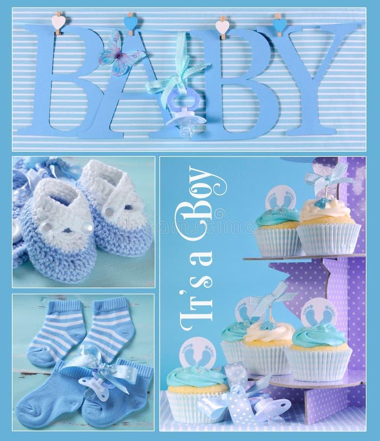 De blauwe Collage van de Babyjongen royalty-vrije stock fotografie